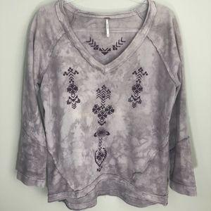 Free People Dusty Purple Aztec Sweatshirt XS